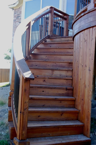 Elegant staircase to Redwood deck