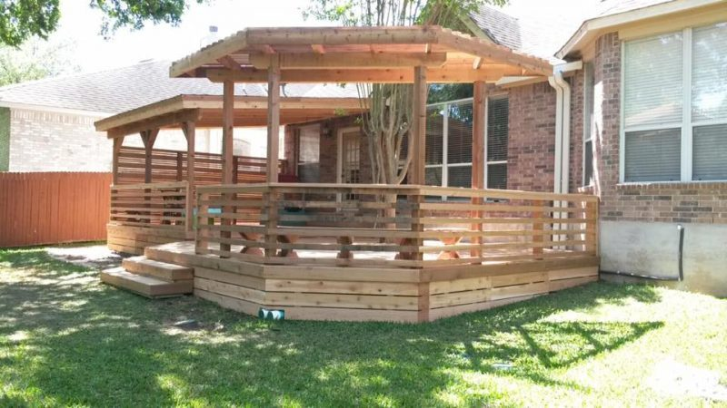 full deck, roof, and arbor, privacy fence, modern handrail,